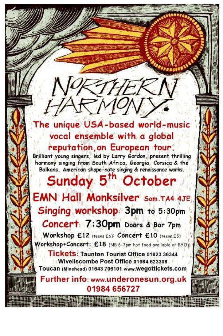 Singing Workshop & Concert with Northern Harmony  @ The EMN Hall, Monksilver, Williton | Monksilver | United Kingdom