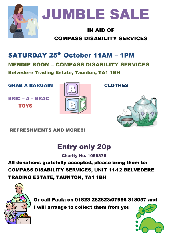 Jumble Sale - In Aid of Compass Disability @ Compass Disability Centre | Taunton | United Kingdom