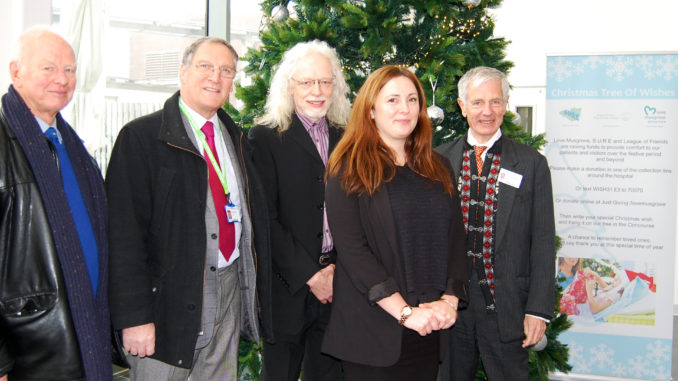 (L-R) Chris Cutting (President – League of Friends), Peter Renshaw (chairman – League of Friends), Paul Alway (chairman – SURE), Katherine Wylie (head of fundraising – Musgrove Park Hospital), Colin Drummond (chair – Musgrove Park Hospital)