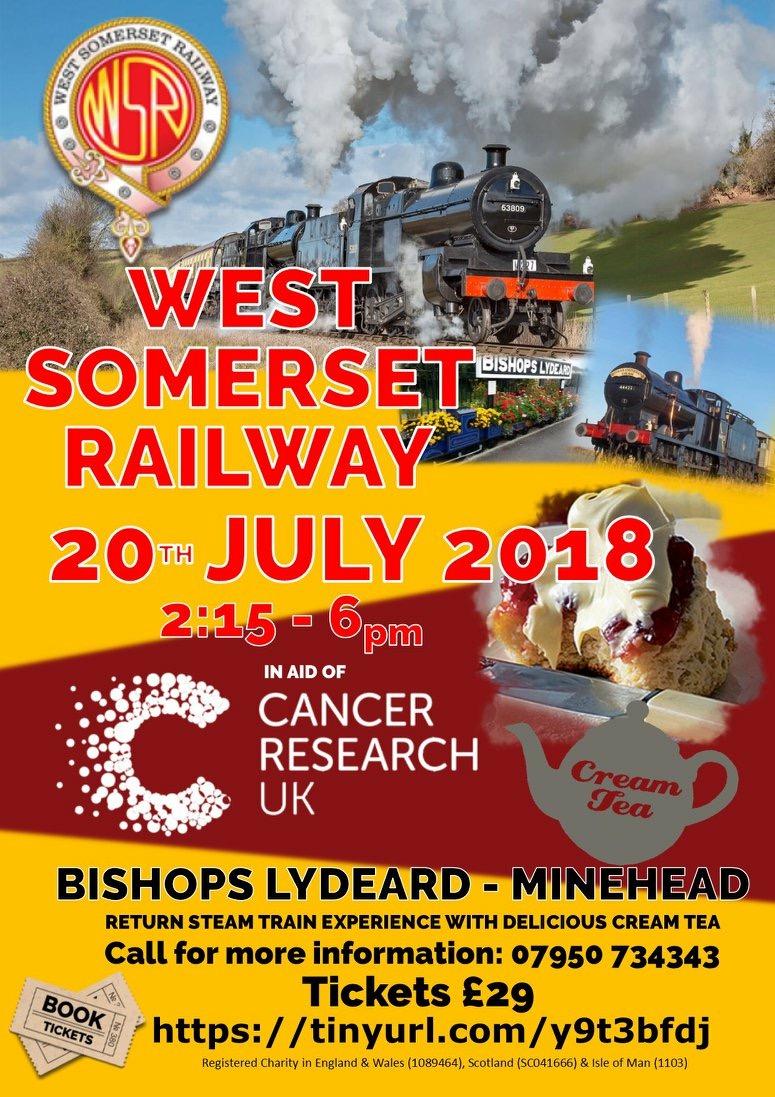 West Somerset Railway Cream Tea Journey for Cancer Research UK @ West Somerset Railway | Bishop's Lydeard | England | United Kingdom